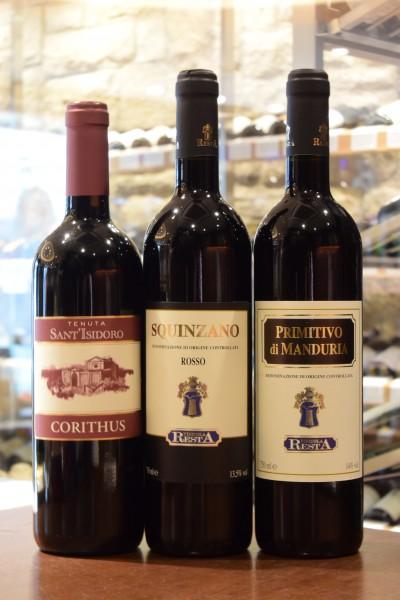 コリトゥス 11 テヌータ・サンティジドーロ &スクインツァーノ 10 & プリミティーヴォ・ディ・マンドゥーリア 11 ヴィニコラ・レスタ