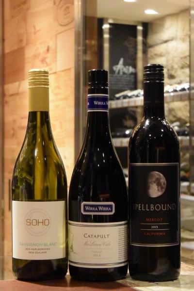 ソーヴィニヨン・ブラン 14 ソーホー・ワイン・コー &カタパルト シラーズ 14 ウィラ・ウィラ・ヴィンヤーズ &  カリフォルニア メルロー 13 スペルバウンド